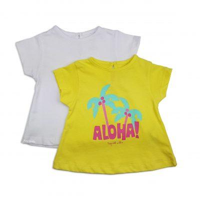 "2 Camisetas ""ALOHA"" Amarilla/Blanca"