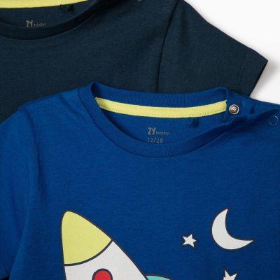 "2 Camisetas ""Blast Off"" Azul/Azul Marino"