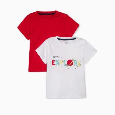 2 Camisetas Explore Blanca/Roja