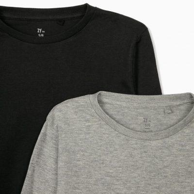 2 Camisetas Lisas Negro/Gris