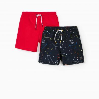 """2 Shorts de Playa """"SPACE"""" Marino/Rojo"""