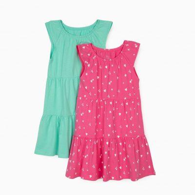 2 Vestidos Sisa Rosa/Verde