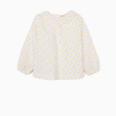 Blusa de Lunares Blanco/Amarillo