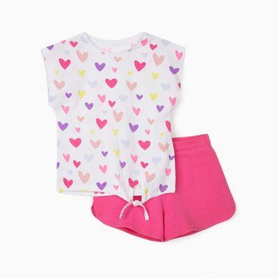 """Conjunto """"Hearts"""" Blanco/Rosa"""