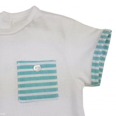 Conjunto Blanco/Verde Rayas