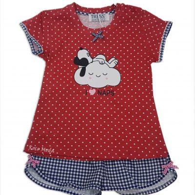 Pijama Snoopy Lunares Rojo