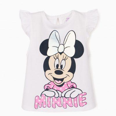 Camiseta Lazo Gris Minnie Blanca