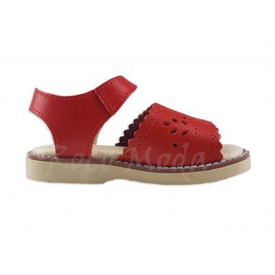 Sandalia Hojas Piel Rojo