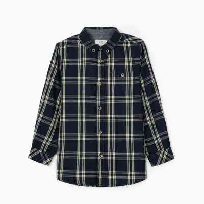 Camisa Ajedrez Azul Marino