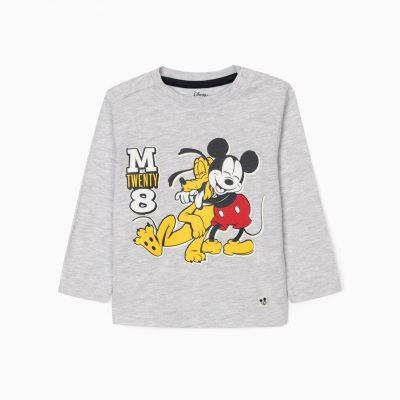 Camiseta Mickey & Pluto Gris Mini